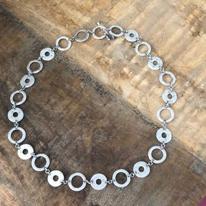 Toggle close silver necklace